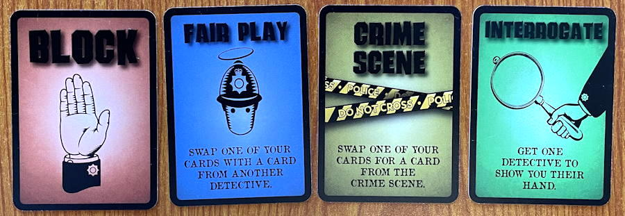 foul play mystery card game - example actions