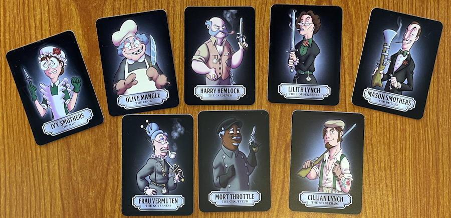 foul play mystery card game - suspects