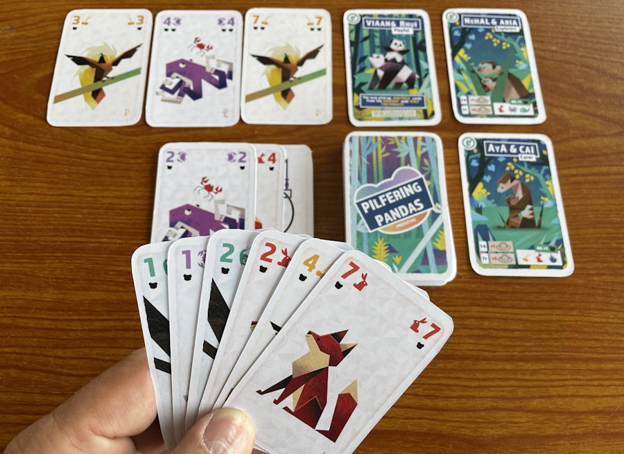 pilfering pandas by wren games - review - starting solo hand
