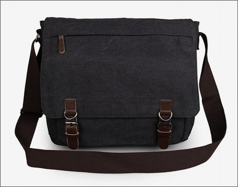 trendhim dark grey canvas satchel