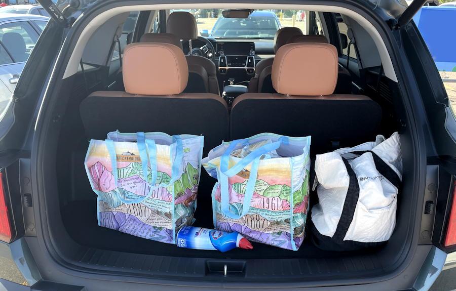 2021 kia sorento x-line awd - rear cargo space shopping bags