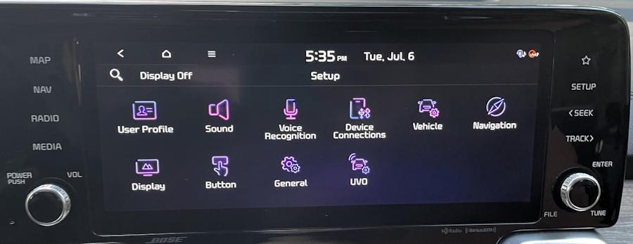 2021 kia sorento x-line - infotainment navigation modes settings