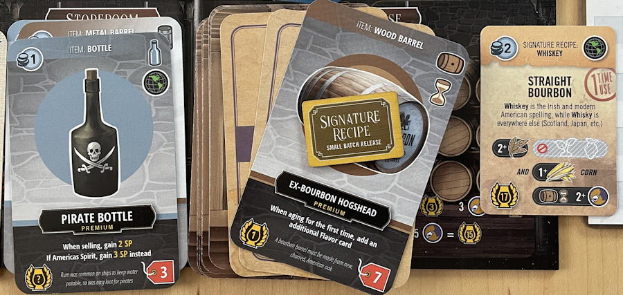 distilled board game review - straight bourbon aging in warehouse