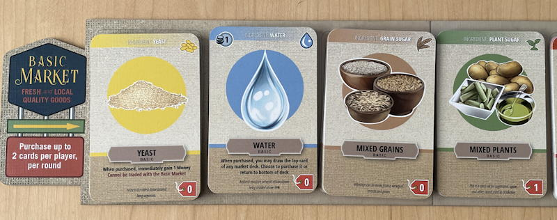 distilled board game review - basic market water yeast grains plants