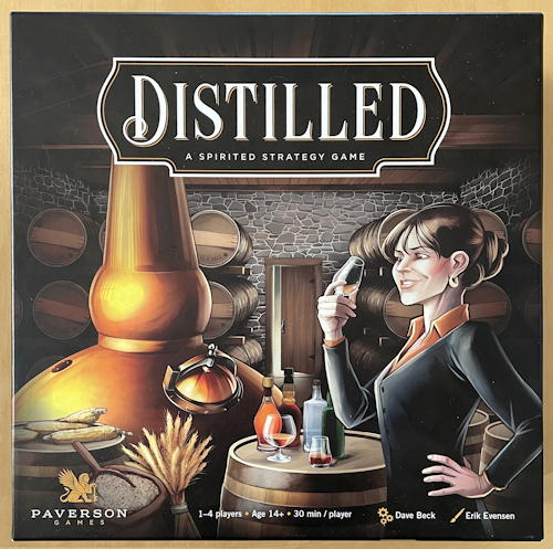 distilled board game solo review - box art