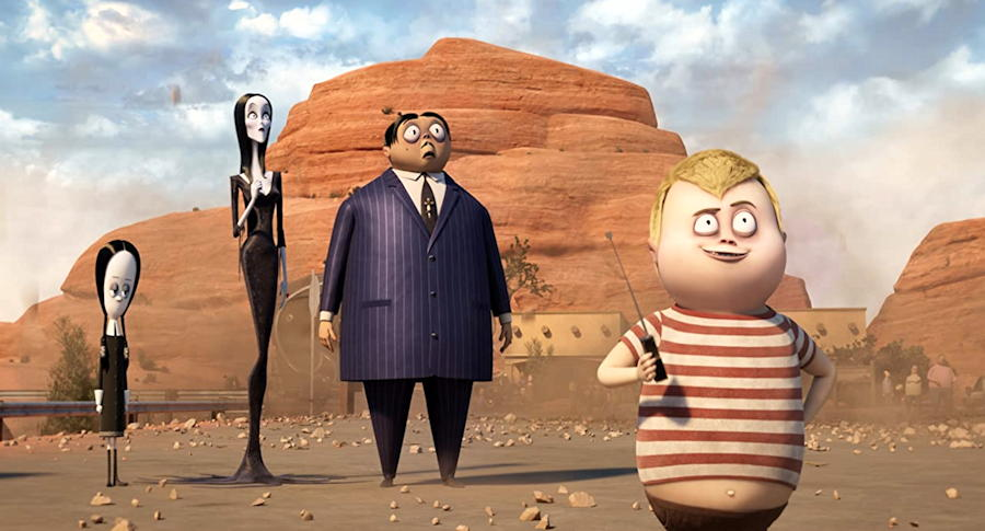 """Wednesday (Moretz), Morticia (Theron), Gomez (Isaacs) and Pugsly (xx), from """"The Addams Family 2"""""""