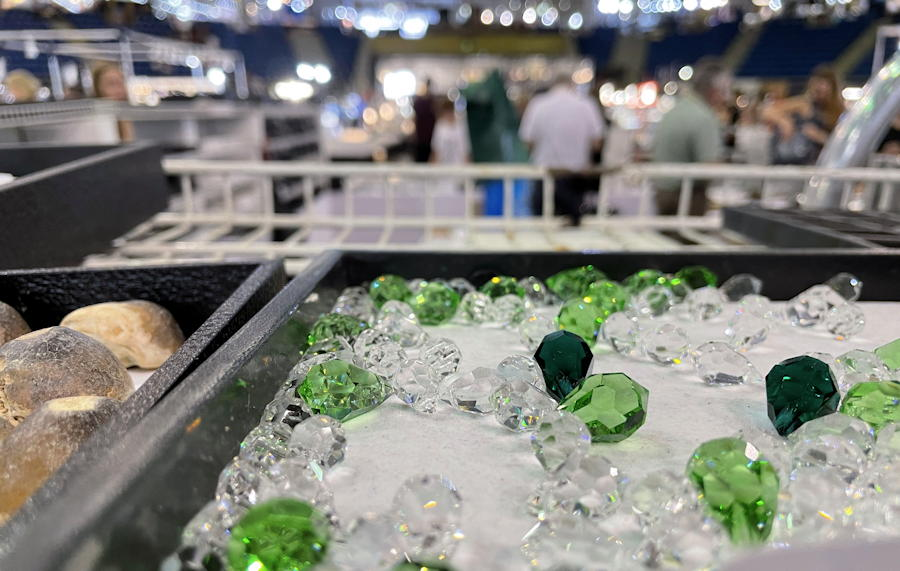 denver mineral, fossil, gem and mineral show denver 2021 - tray of gems in foreground